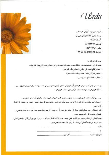 Folder om afasi – på somali, arabisk, vietnamesisk, urdu